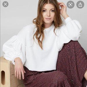 Balloon Sleeve Crop Sweatshirt